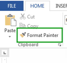Location of Excel Format painter in Home tab
