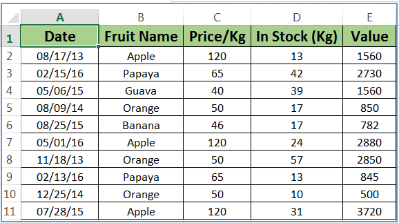 Excel SUMIF Function